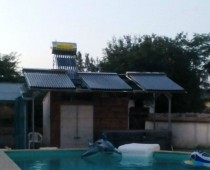 Solar heating system for swimming pool with 50 m3 water